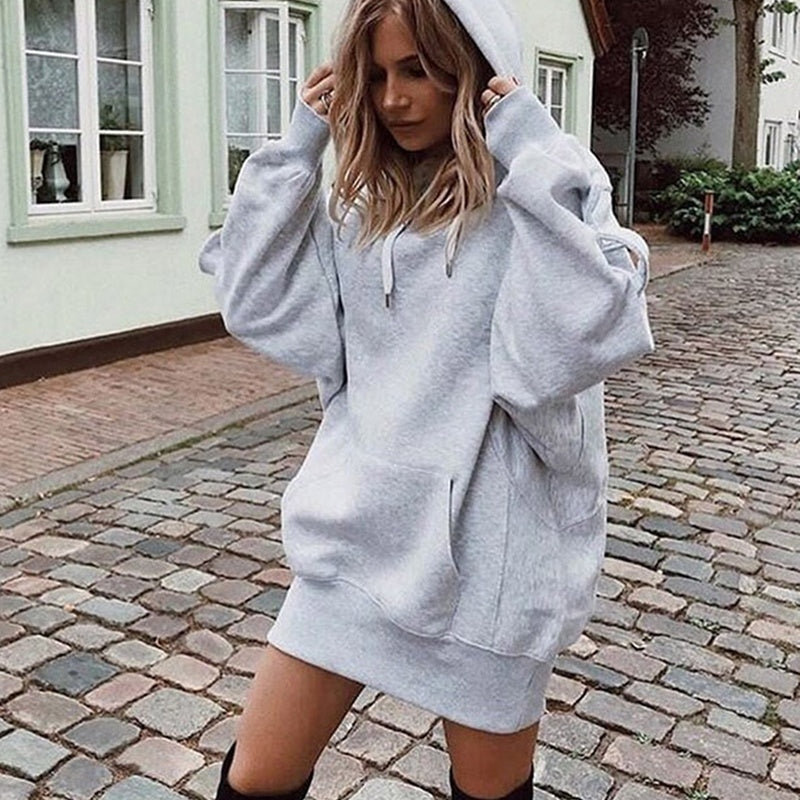 Spring And Autumn Fashion Women's Casual Oversized Hoodie Front Pocket Hooded Pullover Outwear Sweatshirts