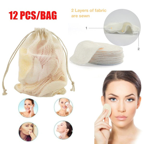 12Pcs/Bag Hot Washable Reusable Lazy cleansing Towel Bamboo Cotton  Face Wipes Makeup Remover Pads  Facial Cleansing Pad