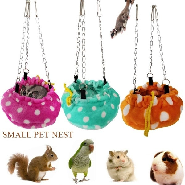 Pet Hanging Soft Bed For Squirrel Hamster Hedgehog Guinea Pig Sugar Glider Parrot Bird Cotton Nest Small Animal Pet Supplies