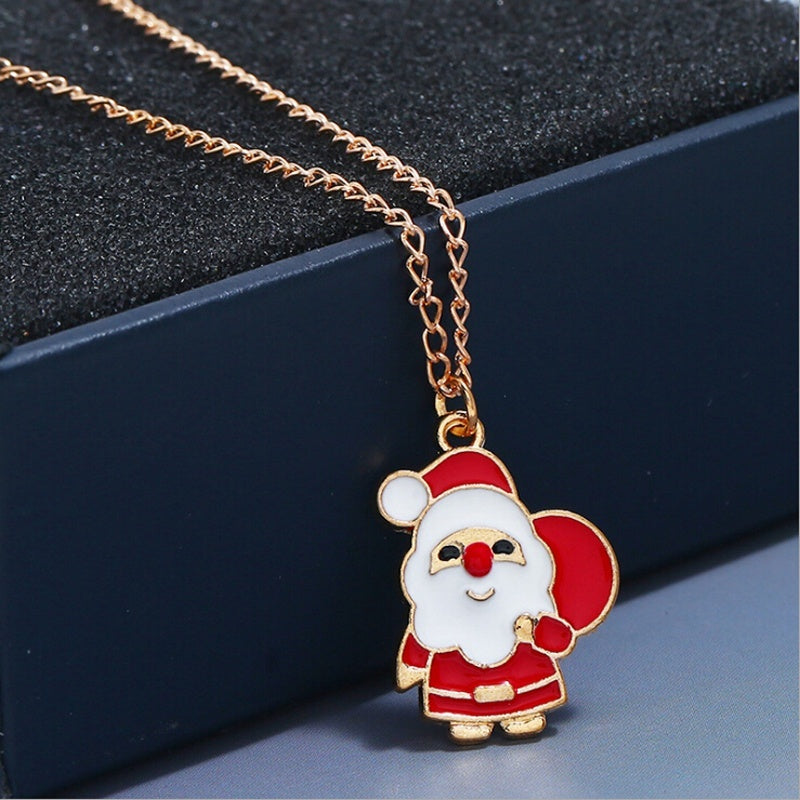 3Pcs/Set Cute Cartoon Drop Oil Color Christmas Tree Christmas Snowman Santa Claus Gift Earrings Necklace Jewelry Set