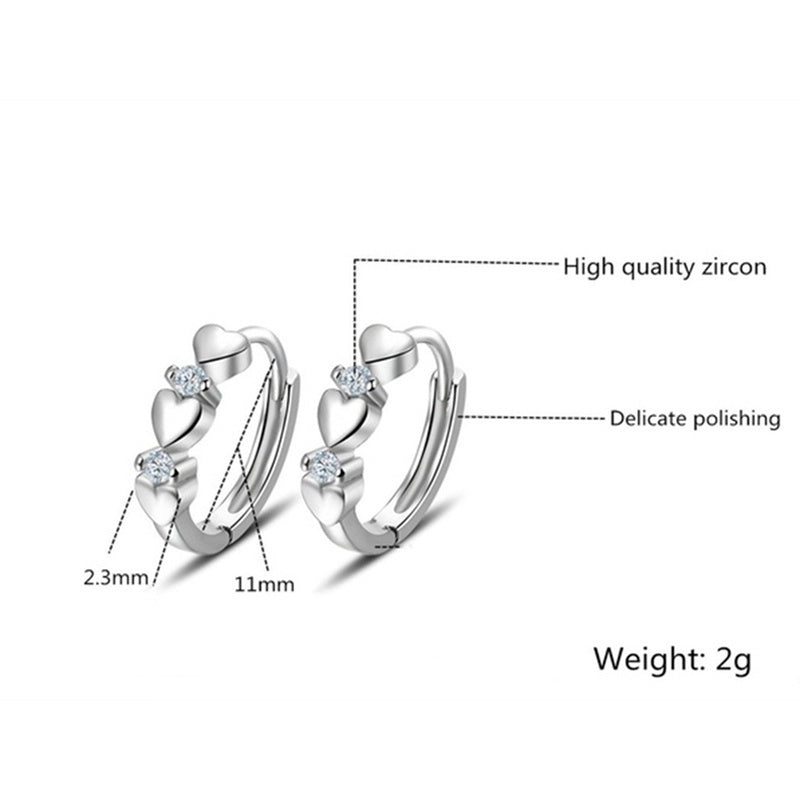 New Fashion Exquisite 925 Sterling Silver Zircon Silver Heart-Shaped Hoop Earrings Jewelry