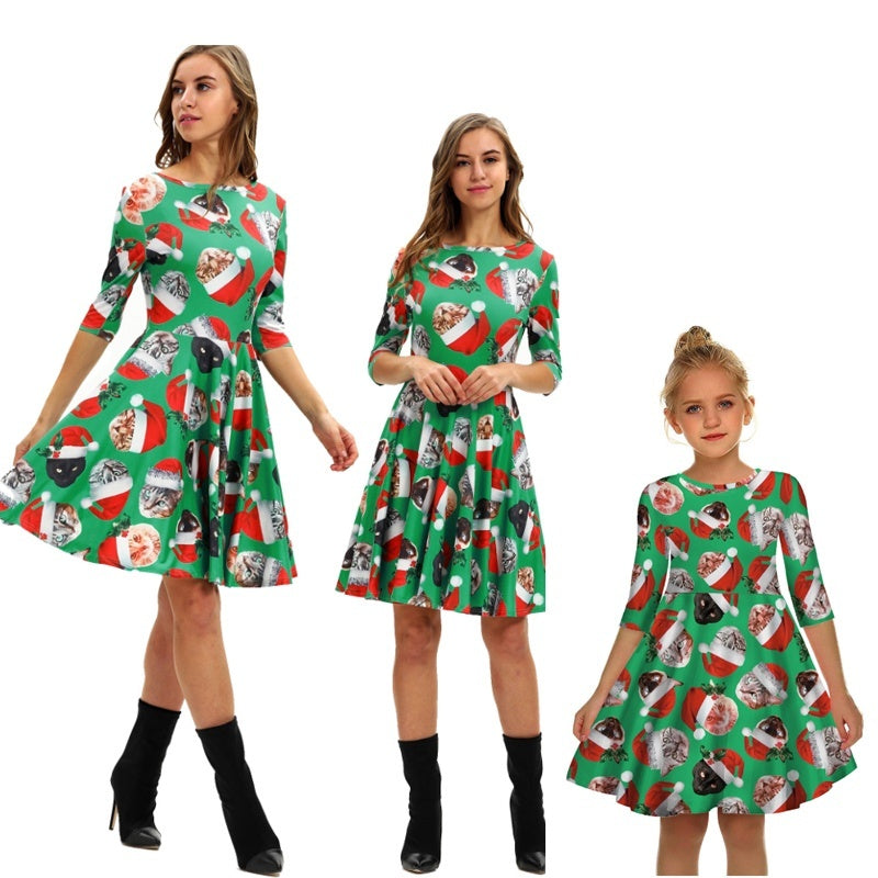Merry Christmas Mother and Daughter Skirt (8 colors) Print Parent-child Wear Sleeve Dress Slim Princess Dress