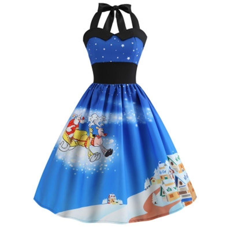 New Womens Fashion Christmas Dress Tunic Dress Snowman Print Princess Dress Plus Size Sleeveless Dress