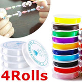 4 Rolls Strong Crystal Elastic Beading Line Cord Thread String for DIY Necklace Bracelet Jewelry Making