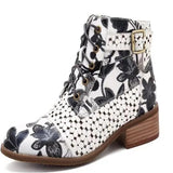 Women Fashion Ankle Boots Ink Painting Flower Pattern Cow Leather Stitching Buckle Zipper Short Boots Female Comfortable Winter Booties Plus Size Botas Feminina/zapatos Mujer