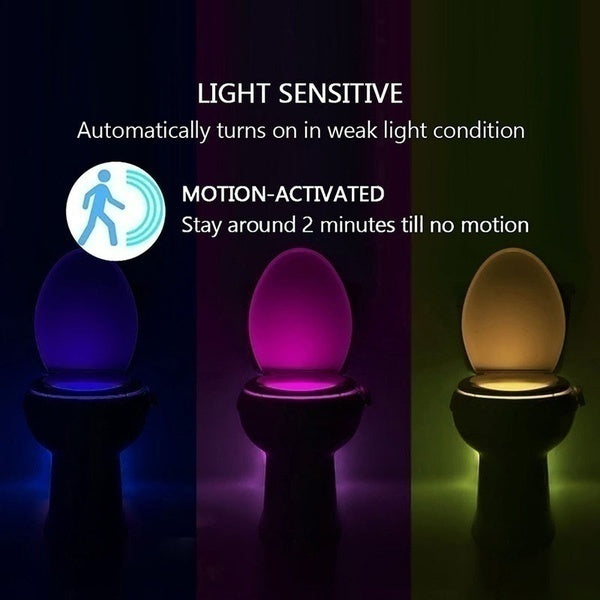Smart Motion Bowl Light Intelligent Toilet Lamp Infrared Induction Night Light Creative Led Sensor Night Light Control for UV Sterilization Toilet Bowl Bathroom 8/16 Colors