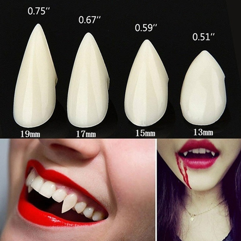 Size 13mm-19mm With FREE Glue Halloween Denture Halloween Party Cosplay Costume Prop Decoration Vampire Dentures Fangs Tooth Horror False Teeth