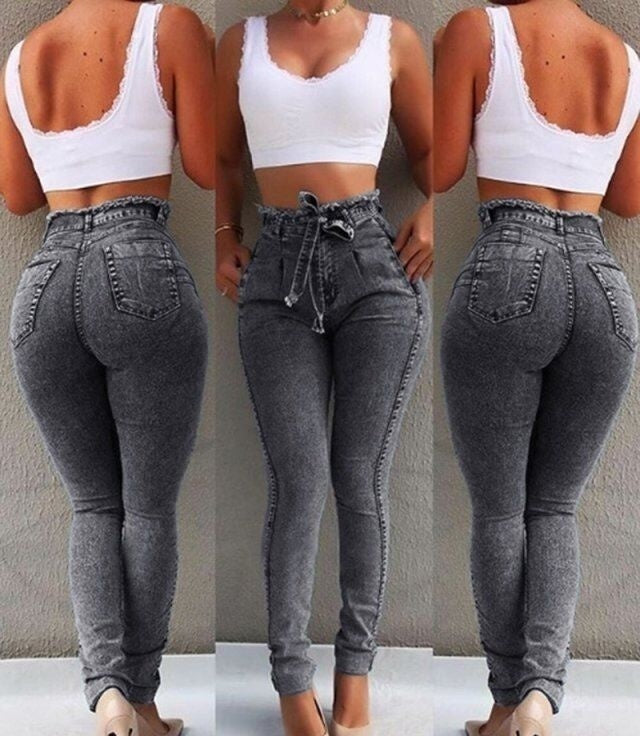 3 Colors Fashion Women High-Waisted Jeans Strechy Skinny Jeans Pants Drawstring Jeans