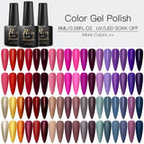 2PCS/SET RBAN NAIL Matte UV Gel Nail Polish Set Pure Nail Color Matte Top Coat Soak Off Nail Art Gel Varnish Lacquer Manicure Kit