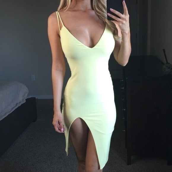 Women Fashion Sexy Deep V Neck Sleeveless Slim Dresses Side Slit Skirt Bodycon Dresses Mini Dress