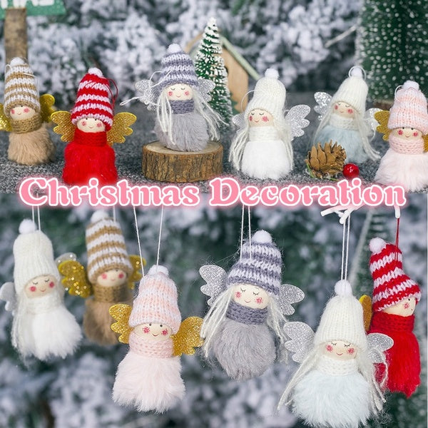 Cute Plush Angel Girl Christmas Tree Decoration Pendant Kawaii Wool Doll Christmas Decorations For Home Ornament navidad Gifts