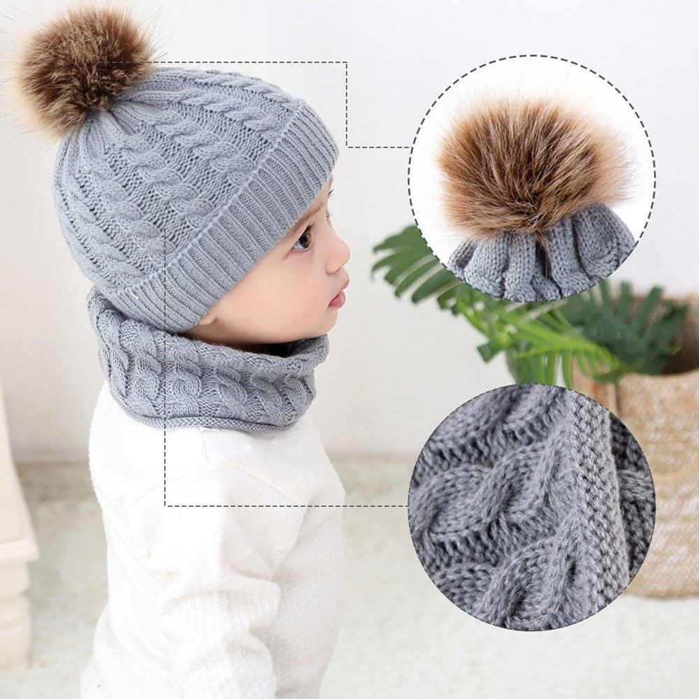 2Pcs Toddler Baby Girls Boys Winter Warm Knitted Beanie Cap+Scarf Keep Warm Set