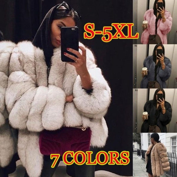 AERLAN 2019 Women Vogue Winter Thicken Faux Fur Coat Casual Loose Warm Jacket Outwear Large Size S-5XL