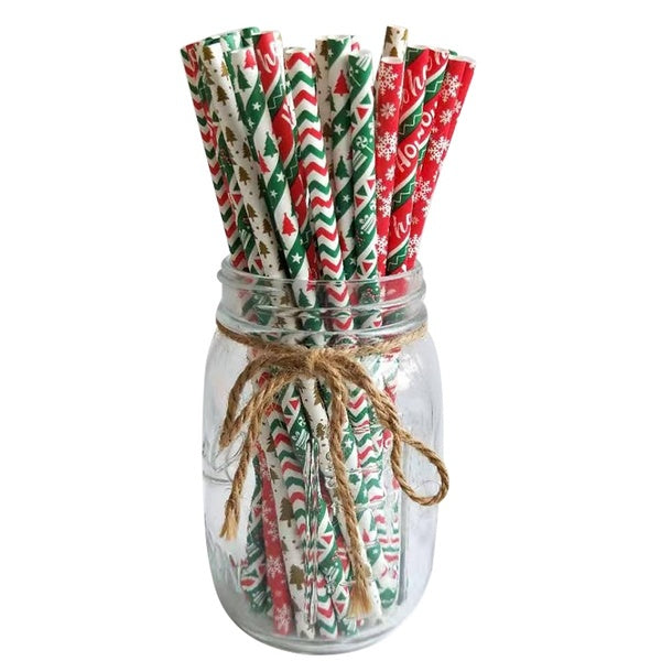 25pcs/lot Drinking Straws Christmas Tree Snowflake Straws Paper Straws for Birthday Wedding Decorative Party Supplies