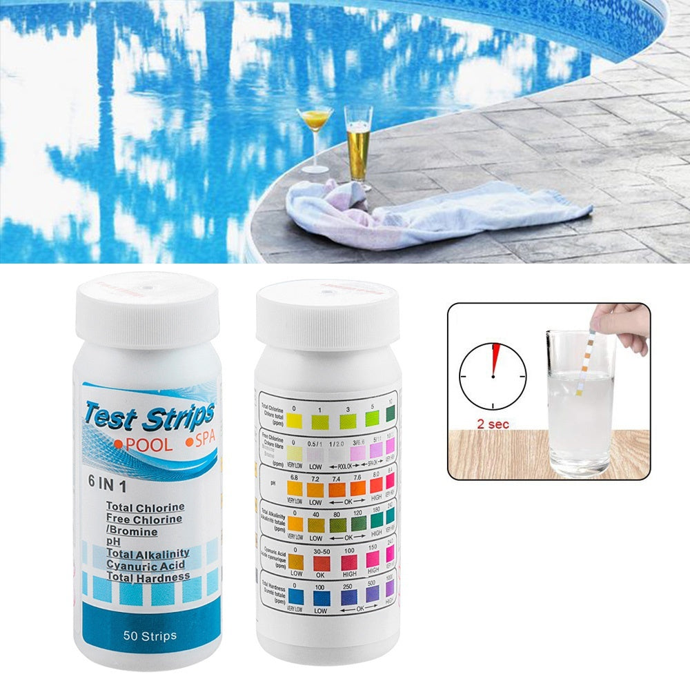 50Pcs 6 In1 Water Hardness Alkalinity Health Monitors Chlorine PH Meters SPA Test Strips PH Test Paper Swimming Pool