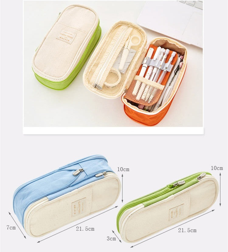 Cute Pen Bags Canvas Stretch Double Layer Large Capacity Pencil Box Kids School Stationery Multi-pocket pencil case