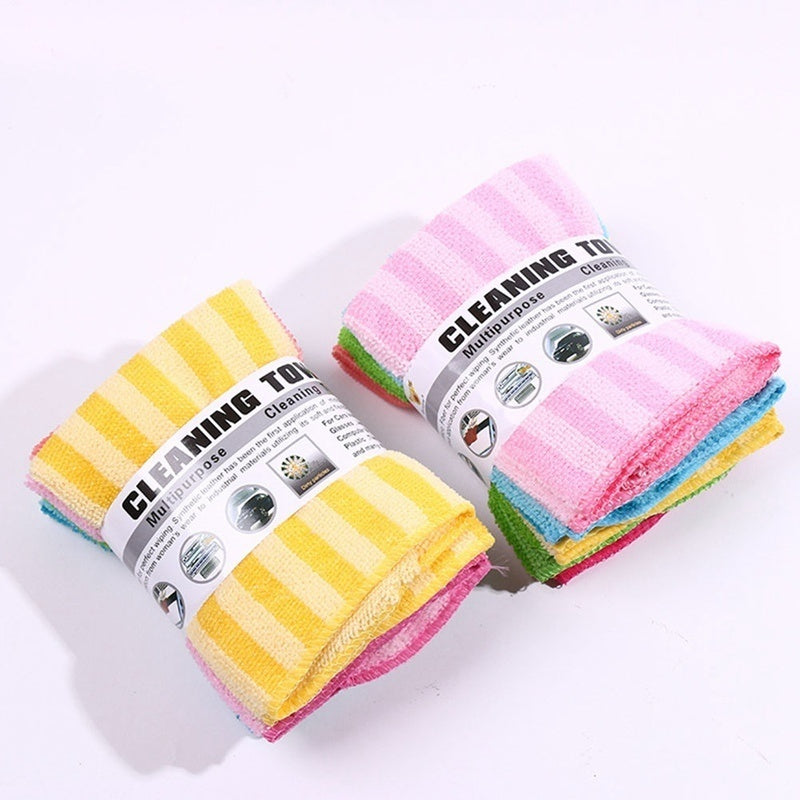 5Pcs 2019 Hot Sales Dish Cloth Washing Towel Magic Kitchen Cleaning Wiping Rags Towels Dishcloth 30*30Cm Non-Stick Oil Cleaning Cloth