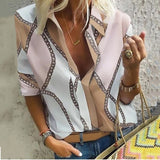 2019 Fashion Printing Stand Collar V Neck Top Long-Sleeved Casual Blouse Plus Size Loose Tops Shirts