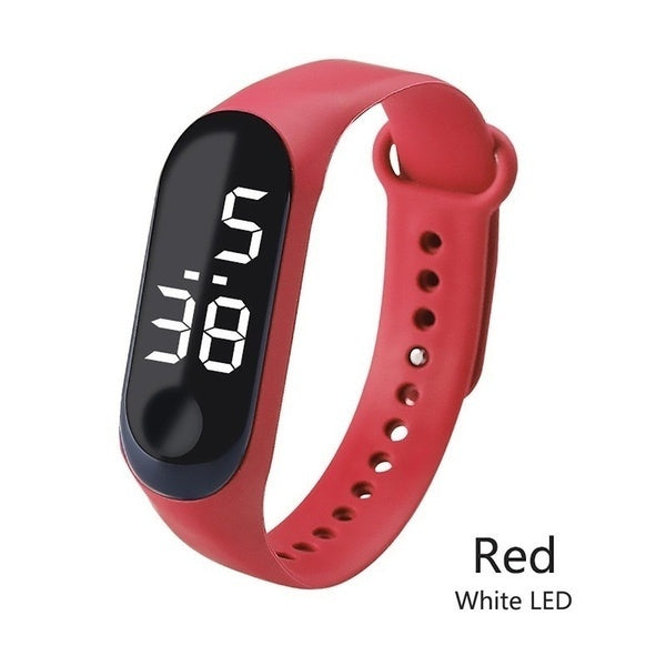 12 Color LED Digital Watch White Light Touch Screen Wristwatch Kids Electronic Watch