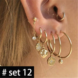 Simple Earring Stud Ear Clip Earrings Set Charm Trendy Gold Alloy Punk Earrings Women  Jewelry Accessories