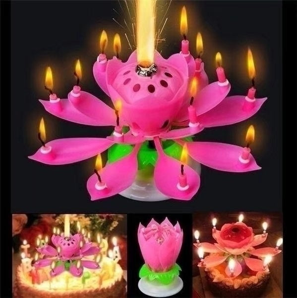 Rotating Lotus Flower Music Birthday Candle Blossom Party Cake Music Candle