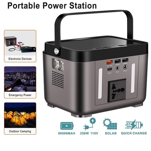 200W Portable Generator Power Supply Station 222Wh Emergency Backup Lithium Battery