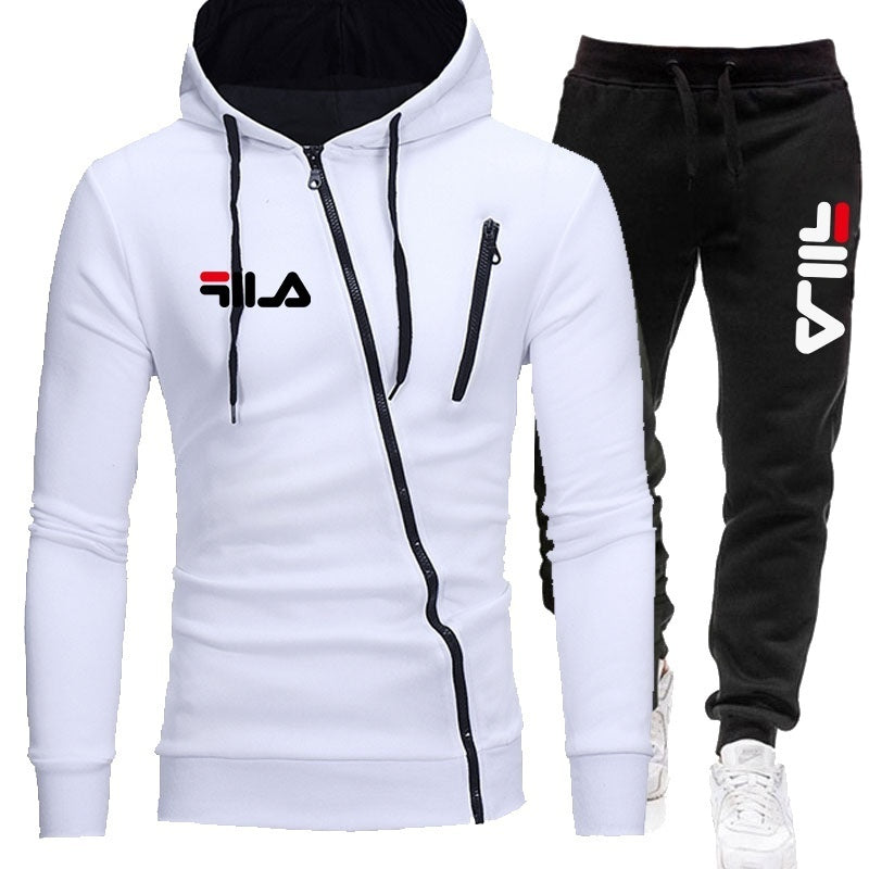 Fashion Printed Men Zipper Hoodie Set Sportwear Suit Casual Male Jacket Sweatshirt + Pants 2 pcs Set Autumn Winter Tracksuit Suit
