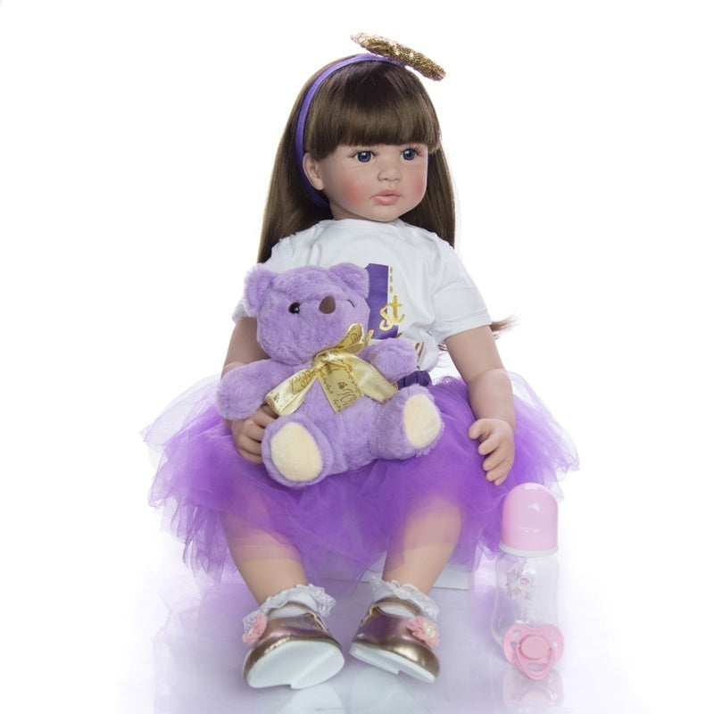 60cm 24 Inch Lifelike Reborn Baby Dolls Handmade Long Hair Princess Girl Doll Gift