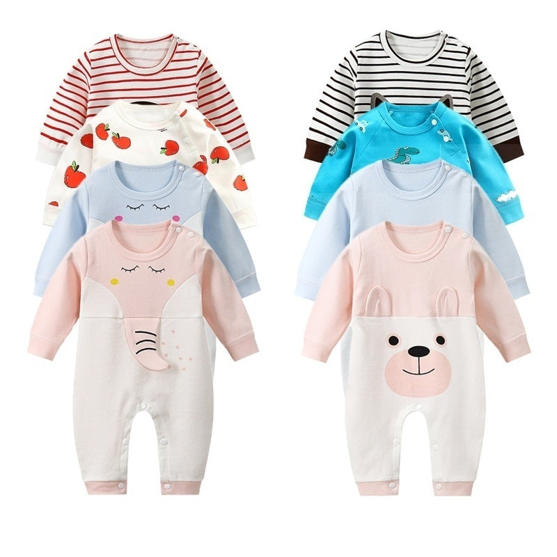 2020 New Cotton Newborn Baby Gril Jumpsuit Long Sleeve Cartoon Floral Printed O Neck Baby Rompers Baby Gril Clothes Suit for 0-12 Months Baby Girl