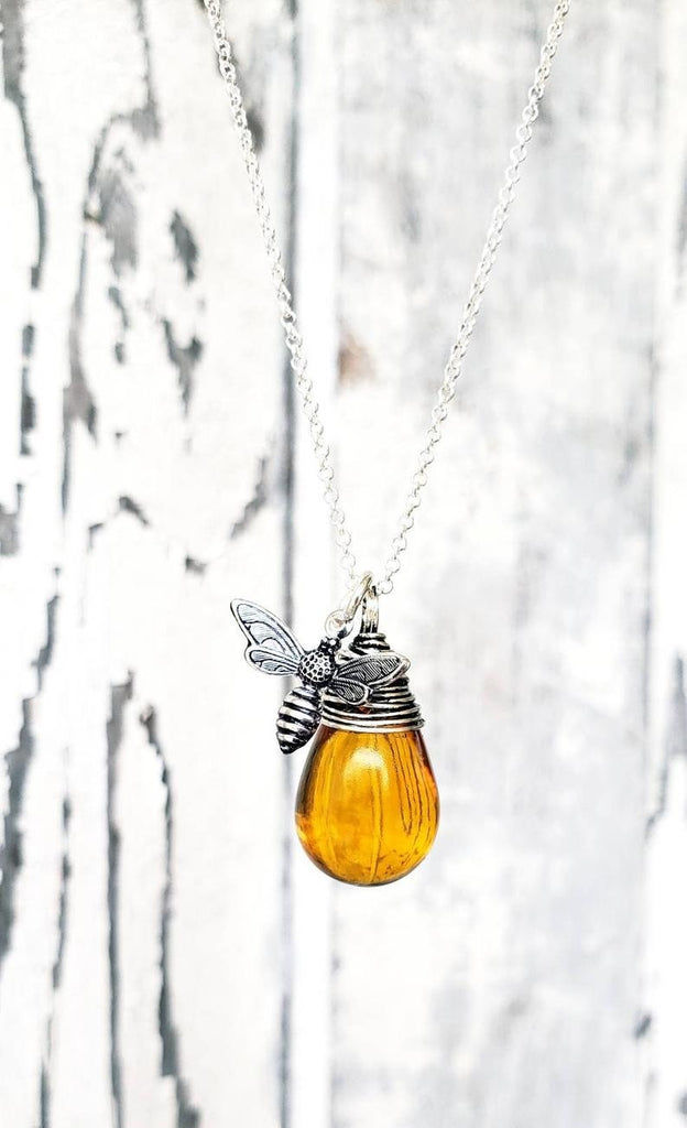Honey Bee Necklace in Silver. Amber Wire Wrapped Briolette Charm Necklace.Honey Amber Necklace. Amber Glass Necklace