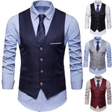 Durable (Only Waistcoat Others Not Included) Plus Size Formal Men Solid Color Suit Vest Single Breasted Business Waistcoat