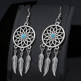 Geometric Dreamcatcher Drop Earrings For Women Femme Dream Catcher Turquoise Jewelry Brincos