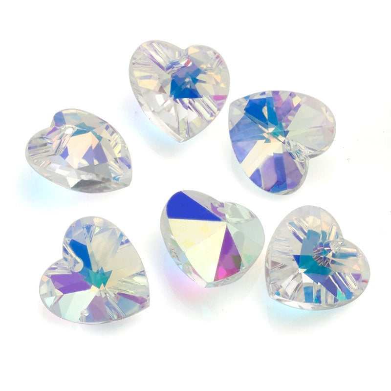 Best Quality Charms Love Heart Crystal AB Glass Beads Crystal Gems Beads for Jewelry Making Necklaces Earrings