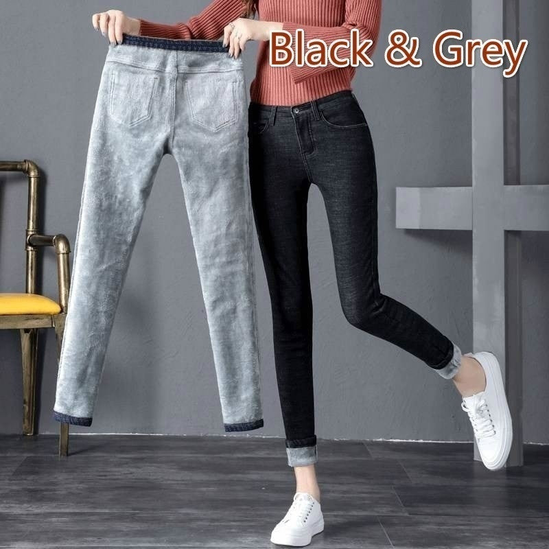 Plus Velvet Jeans Women's High Waist Was Thin and Thick Warm Feet Long Pants
