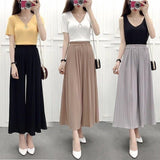 High Waist Women Chiffon Long Pants Solid Color Loose Wide Leg Pant Cropped Pants