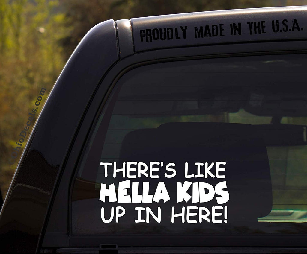 OhioDecals.com There's Like Hella Kids up in here/Hella Kids in Here Decal/Funny Kids Inside on Board Sticker