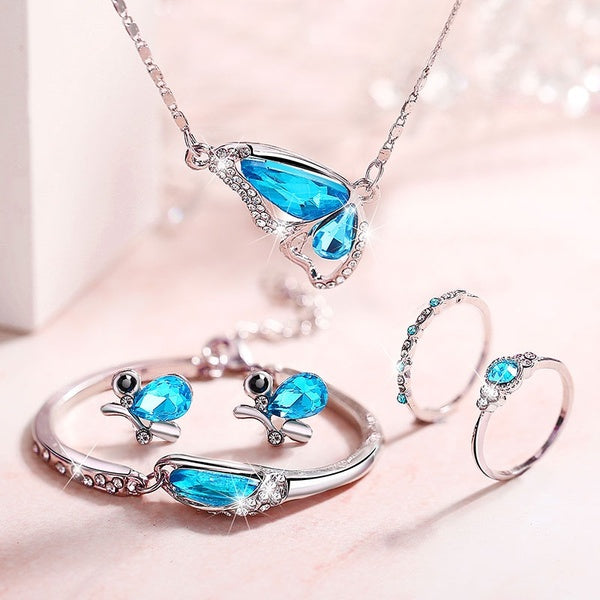 New Butterfly Jewelry Set Necklace + Earrings Bracelet + Ring Crystal Set Jewelry Personalized Cut Sapphire Wedding Ring Set for Women Party Fashion Crystal Jewelry