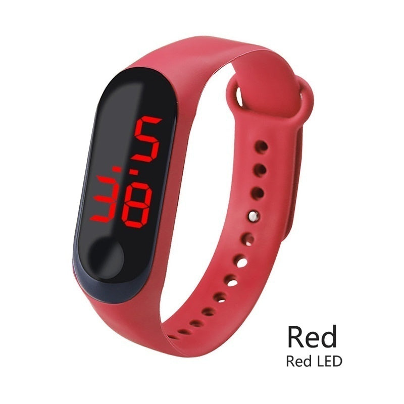 12 Color LED Digital Watch White/Red Light Touch Screen Wristwatch Kids Electronic Watch