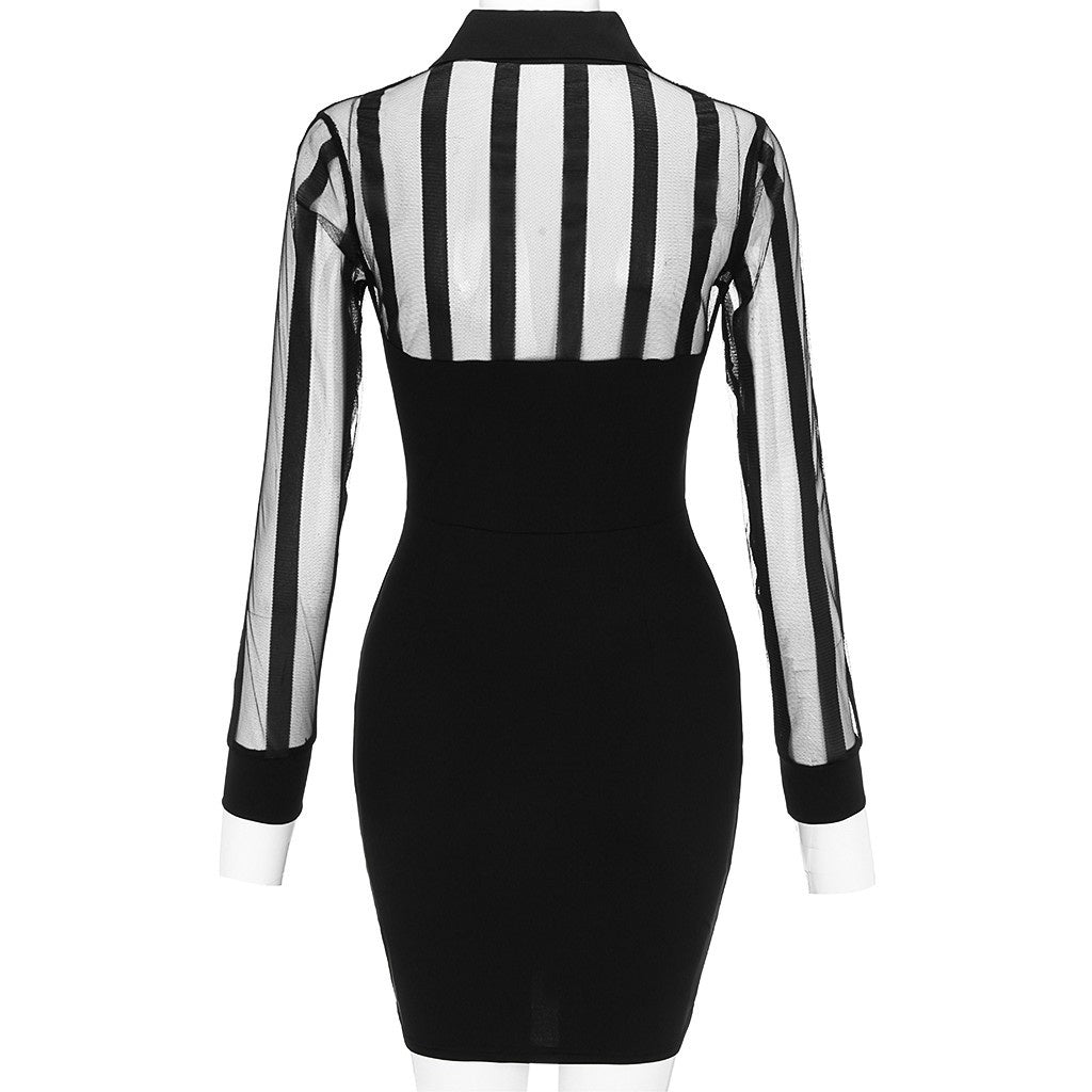 Women Fashion Elegant V Neck Dresses Bodycon Pencil Mesh Patchwork Slim Casual Work Dress