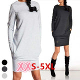 Plus Size Fashion Sweatshirt Dress Ladies Hoodie Pullover Jumper Top Package Hip Skirt Pockets Sweater Long Sleeved Dress