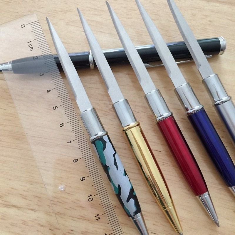 Creative 5colors Outdoor Student Multi-Purpose Ballpen Tactical Pencil Sharpener Knife Pen