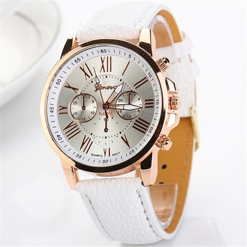 1 Piece Three Eyes Women Watches Rose Gold Plated PU Leather Quartz Wristwatch Clock