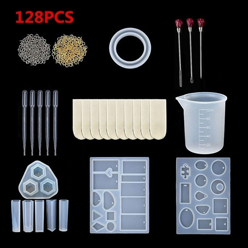 100/115/128/277PCS Silicone DIY Jewelry Mold Pendant Mould Making Craft Kit