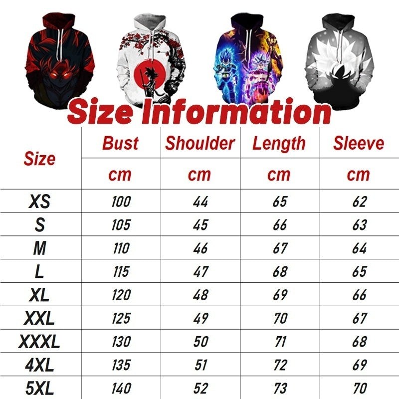 Dragon Ball Z Men Casual 3D Print Hoodies Super Saiyan Son Goku Autumn Winter Oversized Pullover Sweater Unisex Fashion Sport Hooded Sweatshirts XS-5XL