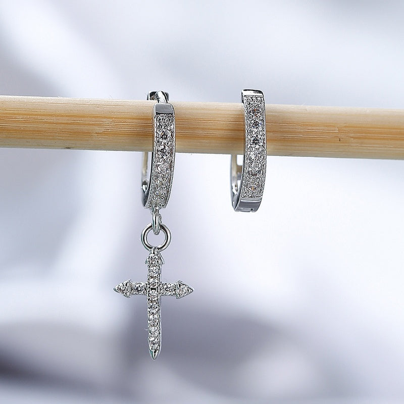 Unisex Asymmetry Accessory Cross Inlay Diamond Dangle Earrings 925 Sterling Silver Hoop Buckle Earrings Band Punk Jewelry Gift