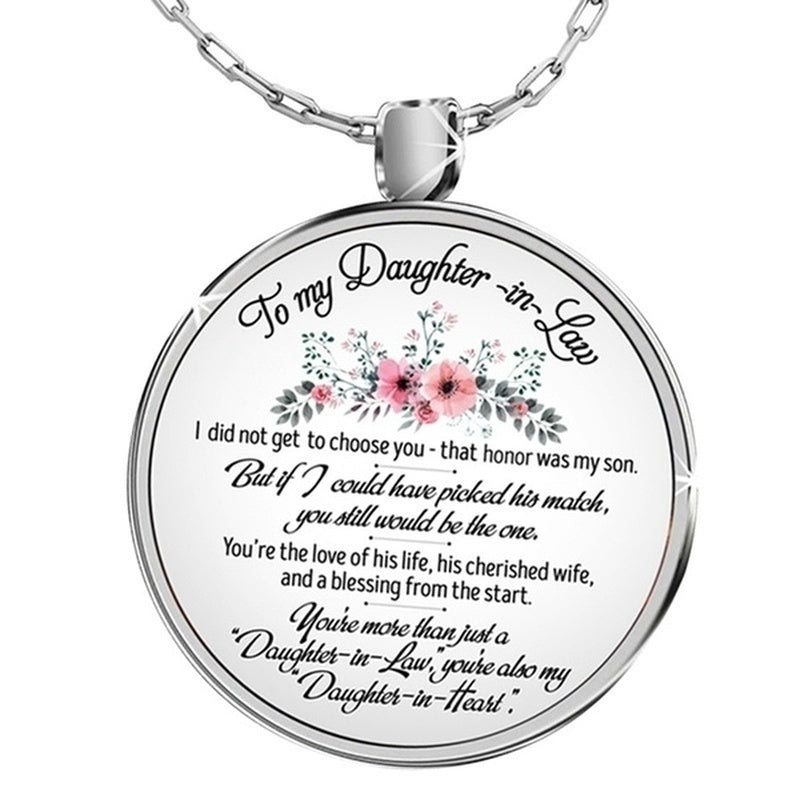 To My Daughter In Law Love Mom Cabochon Glass Rose Flower Pendant Necklace Family Jewelry Gifts