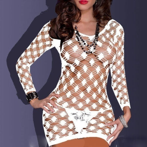 Sexy Women Fishnet Babydoll Lingerie Mini Dress Underwear Intimate Nightwear