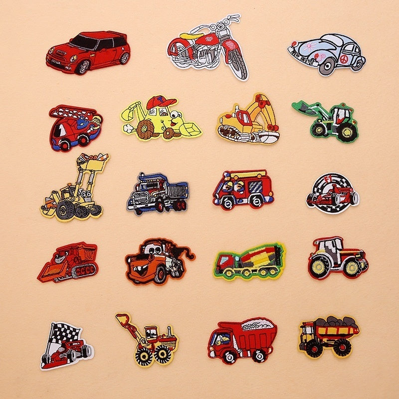 1set/5pcs Small Car Cartoon Embroidery Patches for Clothes Iron on Sewing Accessories Patch Stickers