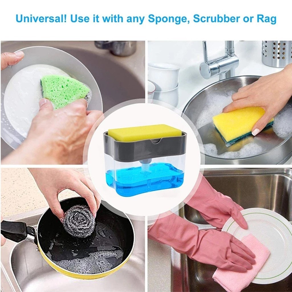 2020 Newest Home Kitchen Bathroom 2-in-1Sponge Rack Soap Dispenser Soap Dispenser And Sponge Caddy 13 Ounces Magic