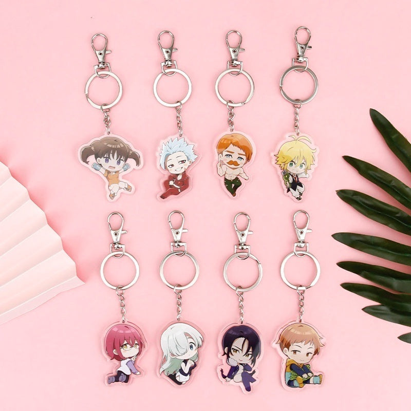 Acrylic Keyring Anime The Seven Deadly Sins Cartoon Characters Transparent Double-Sided Acrylic Pendant Keychain